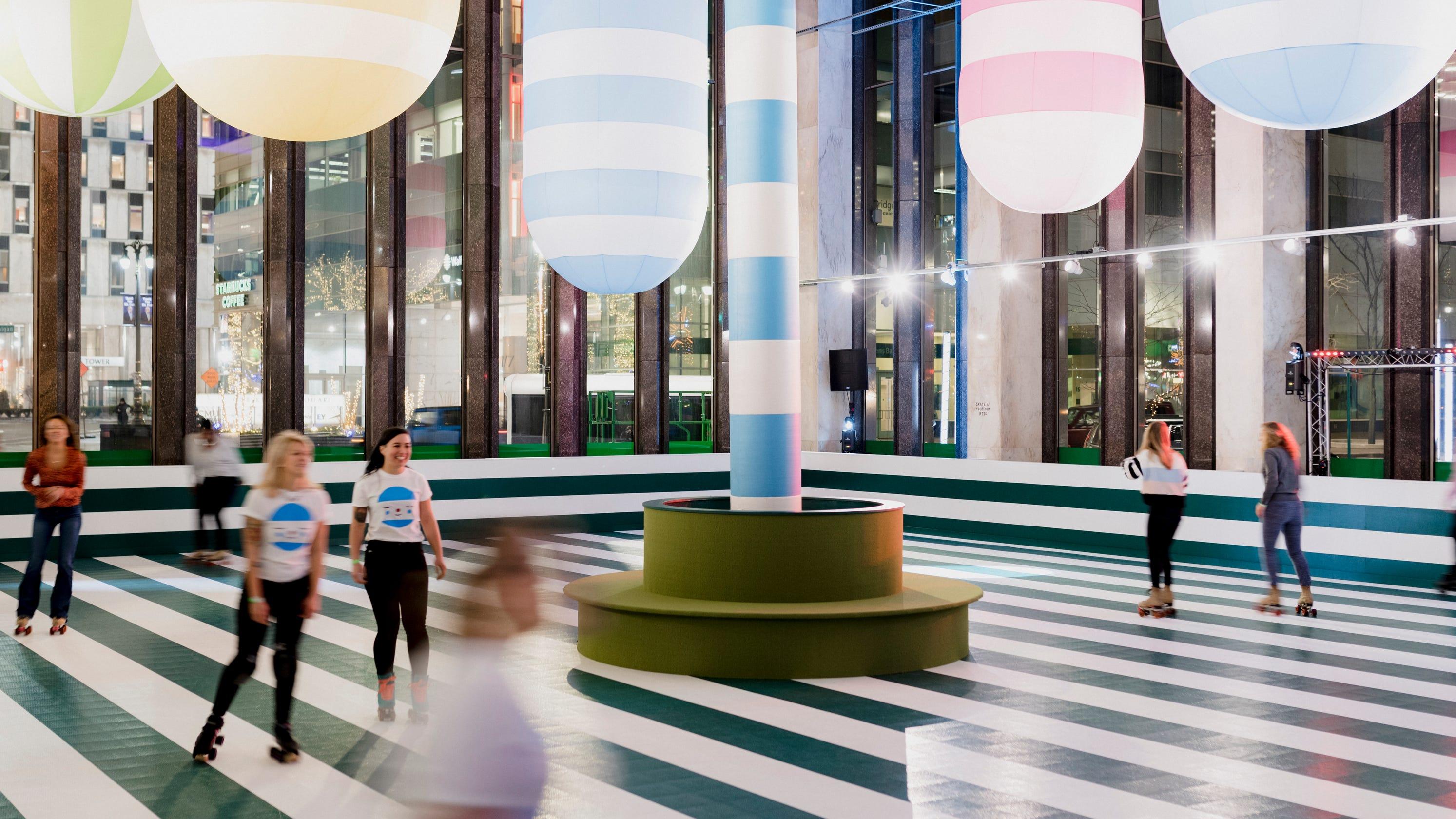 exuberant artwork adorns rainbow city roller rink. Black Bedroom Furniture Sets. Home Design Ideas