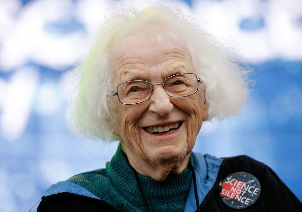 American astronomer Dr. Nancy Grace Roman, who was one of the first female executives at NASA, attends the Earth Day March for Science Rally on the National Mall on April 22, 2017 in Washington, DC.