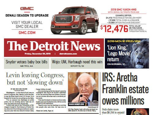 The front page of The Detroit News on Friday, December 28, 2018.