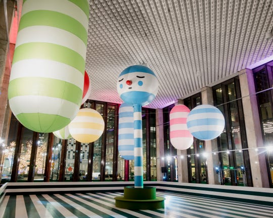 Artists Samuel Borkson and Arturo Sandoval III of FriendsWithYou created the ballons that animate Detroit's Rainbow City Roller Rink.