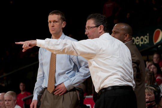Former Miami of Ohio assistant coach Todd Lickliter points out onto the court during a RedHawks' game against Buffalo.