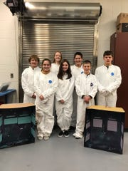 Port Clinton Middle School's Tech Team recently competed in Toledo.  Pictured back (left to right)-Owen Auxter, Akella Nardecchia, Gavin Maloy, Cameron Gillum.  Front (left to right)-  Grace Smothers, Paige Smothers, Parker Fanning.  (Not pictured is Jordan Mazur.)