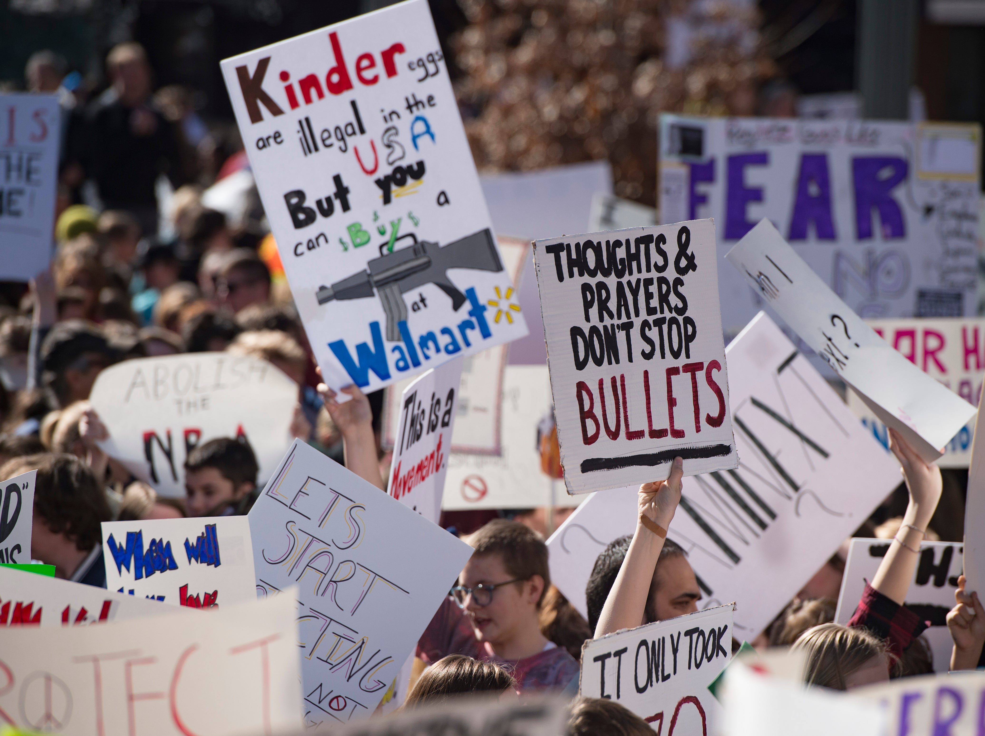 Fort Collins students and supporters crowd Old Town Square during a rally voicing concerns about school safety on Tuesday, February 27, 2018.