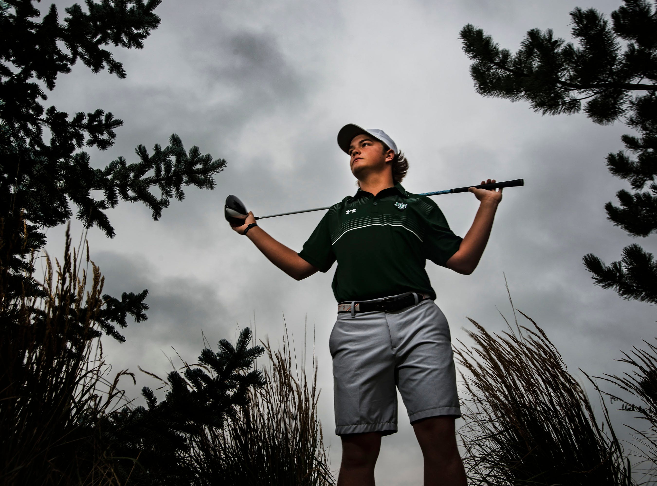 Fossil Ridge High School senior golfer Dillon Stewart poses for a portrait on Wednesday, Aug. 8, 2018, at Ptarmigan Country Club in Fort Collins, Colo.