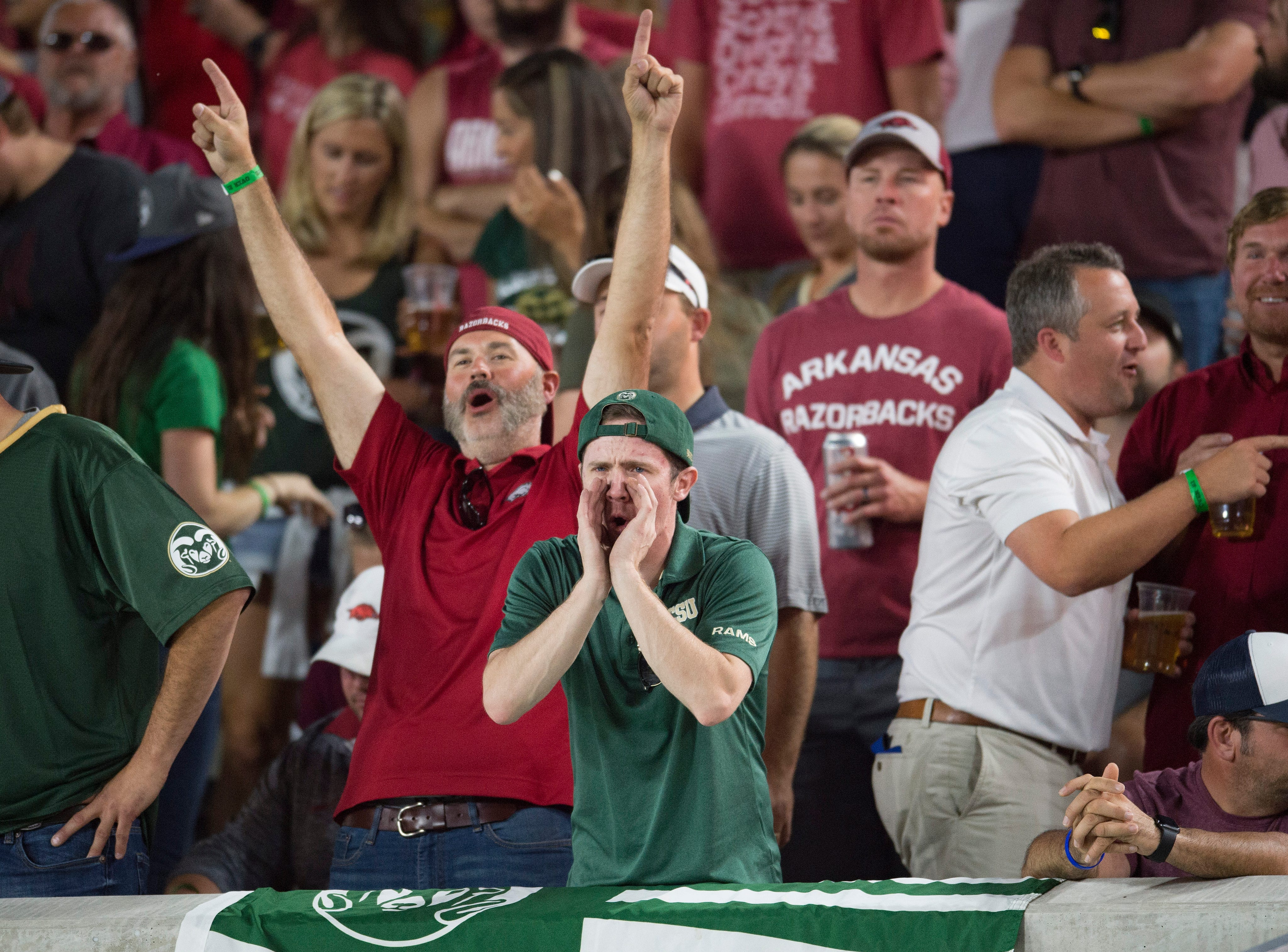 Razorbacks and Rams fans support their team as CSU takes on Arkansas at Canvas Stadium on Saturday, September 8, 2018.