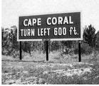 In the early days of Cape Coral, a dirt road going down from Pine Island Road to the Caloosahatchee River was the only road. It was later developed into Del Prado Boulevard.