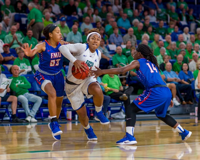 Kerstie Phills, pictured in FGCU's 99-68 home win over Florida Memorial on Nov. 12, 2018, has started six games this season. Phills is the daughter of late former NBA player Bobby Phills, who died in a car crash in Charlotte, North Carolina, on Jan. 12, 2000.