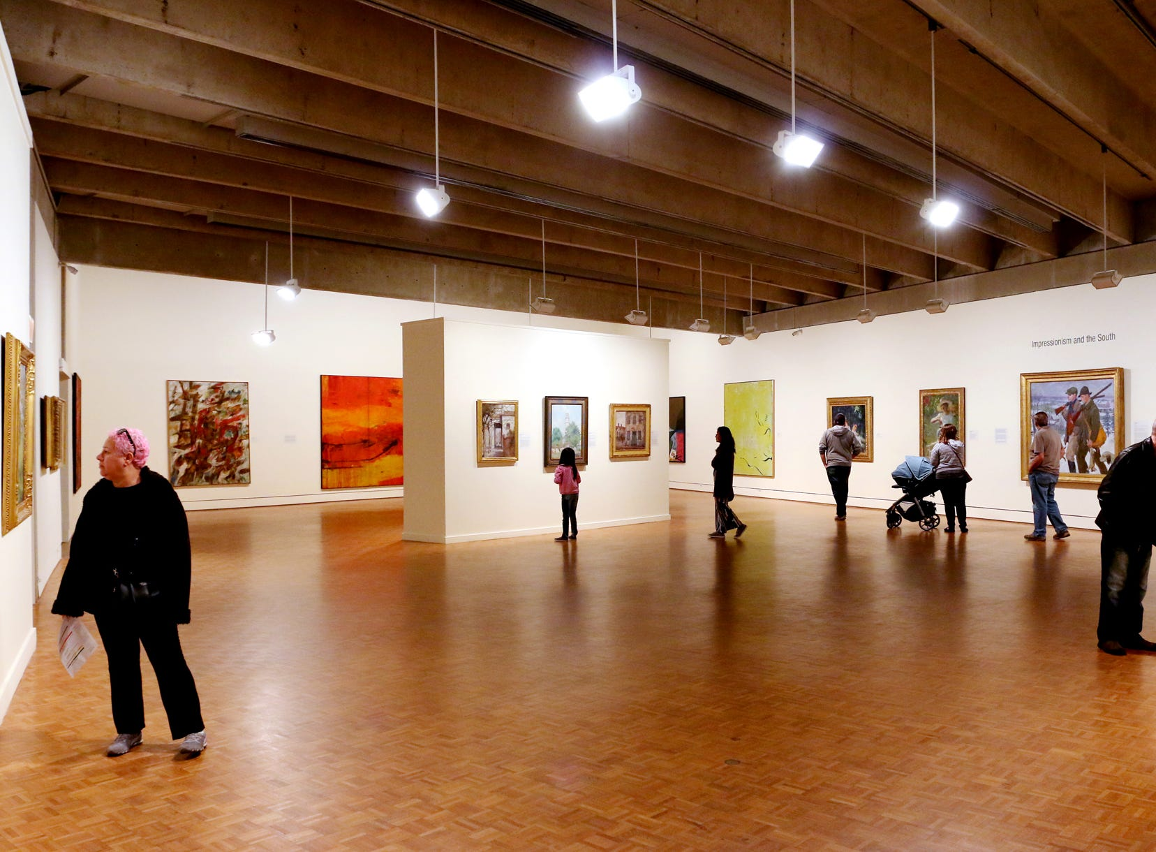 Museum goers enjoy art at the Greenville County Museum of Art in downtown Greenville.