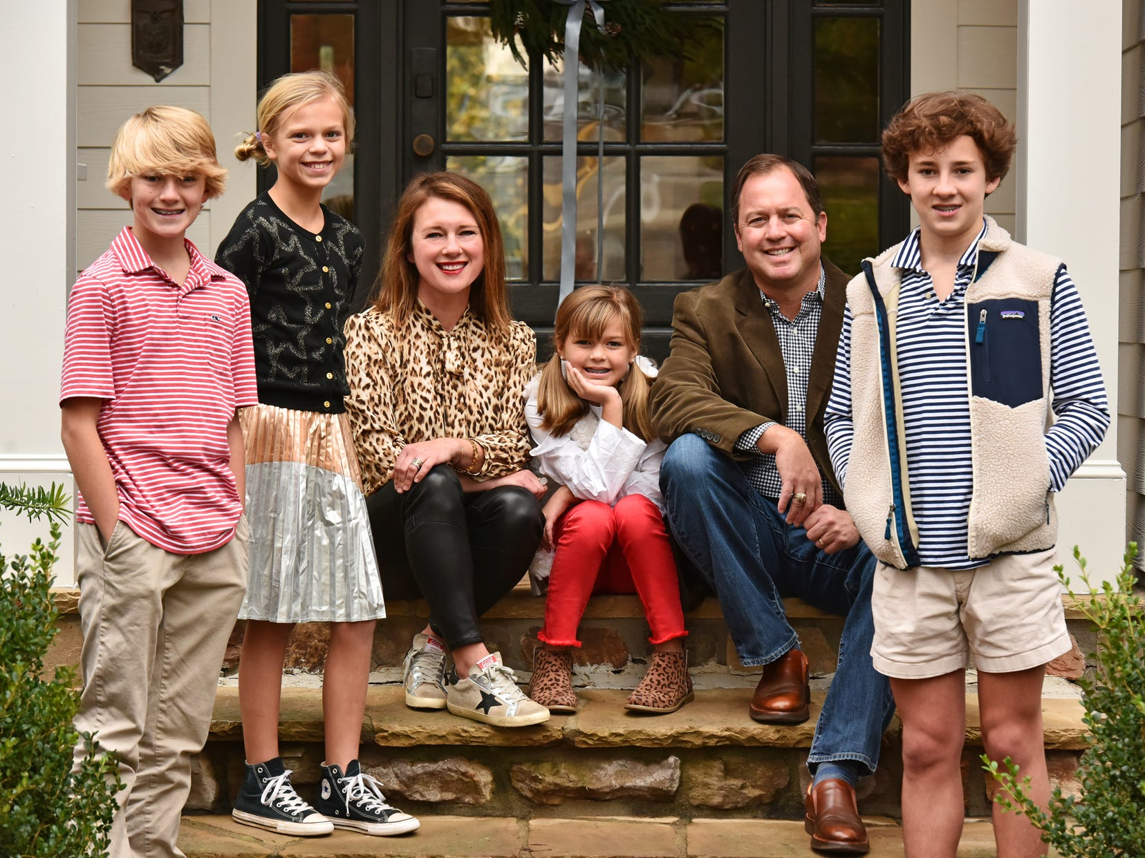 Michele and Jeff Johnson have combined their families and started new holiday traditions. From left, Hayes Dickens,11, Leira Johnson, 10, Michele Johnson, Edie Johnson, 8, Jeff Johnson, and Witt Dickens, 14.