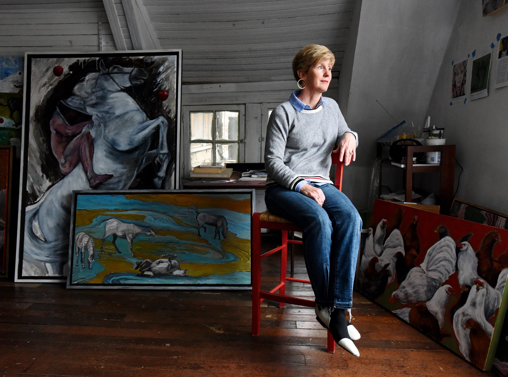 Garland Mattox pictured at her studio at While Whale Studios in Greenville.