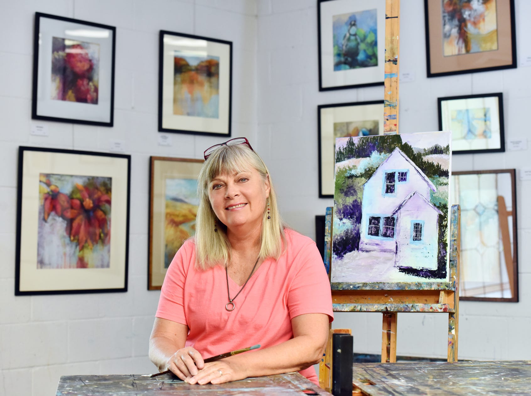 Greenville based artist Julia Peters in her studio.