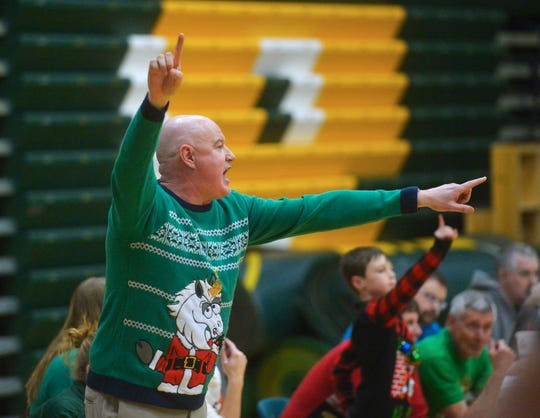 CMR Girls Basketball Coach Brian Crosby calls out a play during their game against Missoula Big Sky on Thursday evening in the CMR Fieldhouse.