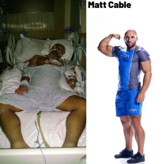 "Matt Cable during his fight with AML Leukemia next to his photo with ""The Titan Games"""