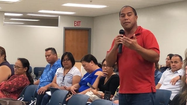 Tiyan High School assistant principal Joel Punzalan gestures as he talks about the need for law enforcement and schools to work closely together to ensure campus safety and security, during an open discussion Friday at Tiyan.