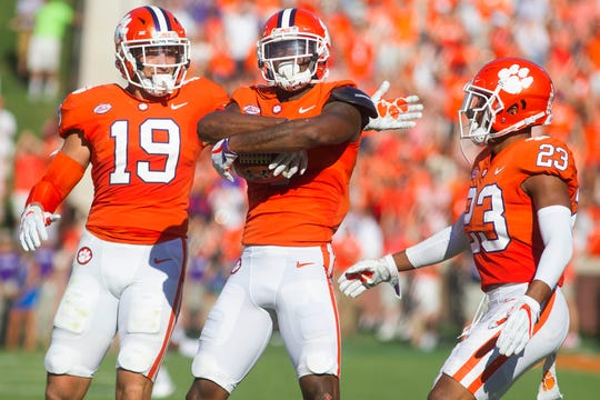 Clemson cornerback Trayvon Mullen (center) is considered one of the team's fastest players.