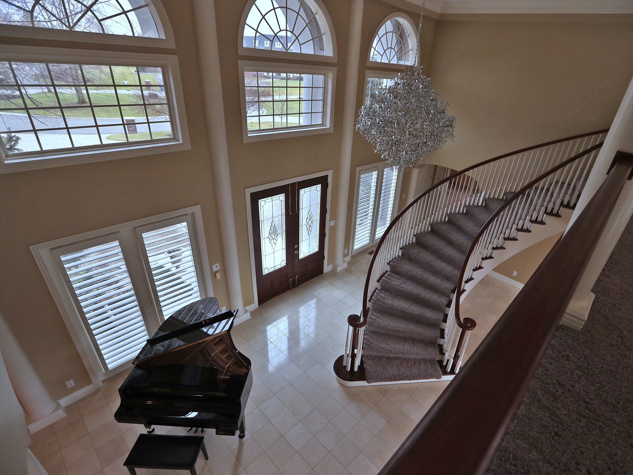 This is a look down into the two-story foyer area in the home at 1270 Laurelwood Ct. in Carmel, Friday, Dec. 28, 2018.