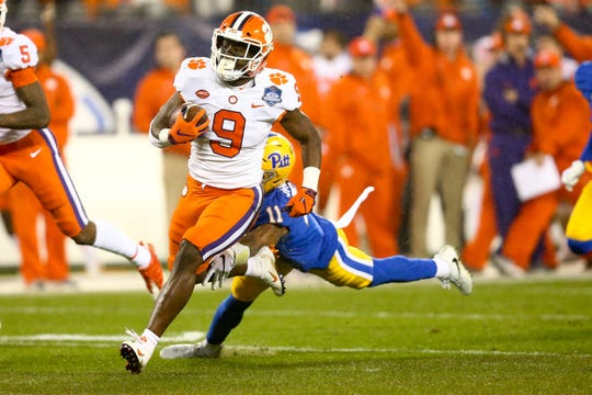 Clemson running back Travis Etienne's speed will challenge Notre Dame's defense.