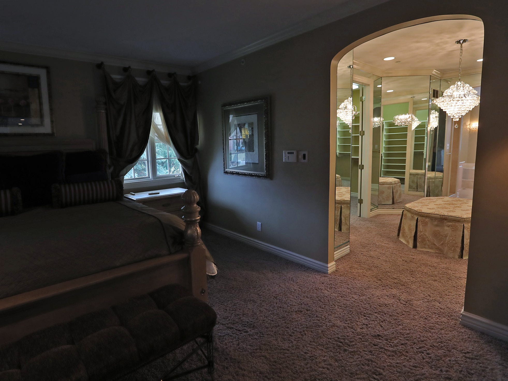 This is the master bedroom in the home at 1270 Laurelwood Ct. in Carmel, Friday, Dec. 28, 2018.  It includes a huge closet surrounded by mirrors, right.