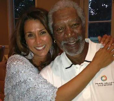 Marie Pizano  (left) and Morgan Freeman