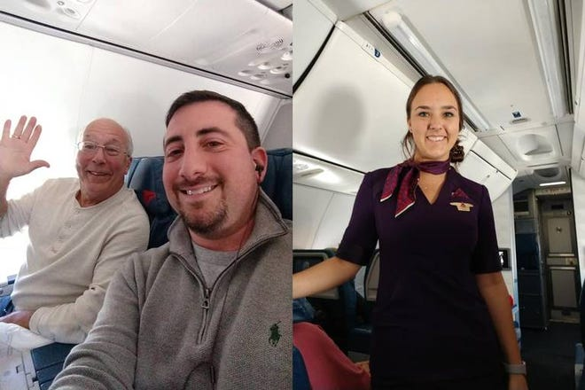 Flight attendant Pierce Vaughan was surprised over Christmas when her father from Ocean Springs flew with her so she wouldn't be alone on Christmas.