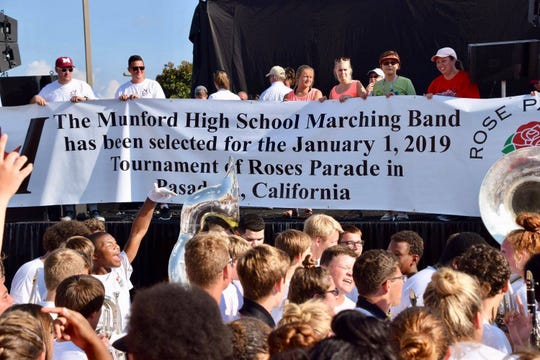 """The Munford High School Band find out they have been chosen to perform in the 2019 New Year's Day Tournament of Roses Parade after their concert performance at """"Celebrate Munford"""" in September 2017."""