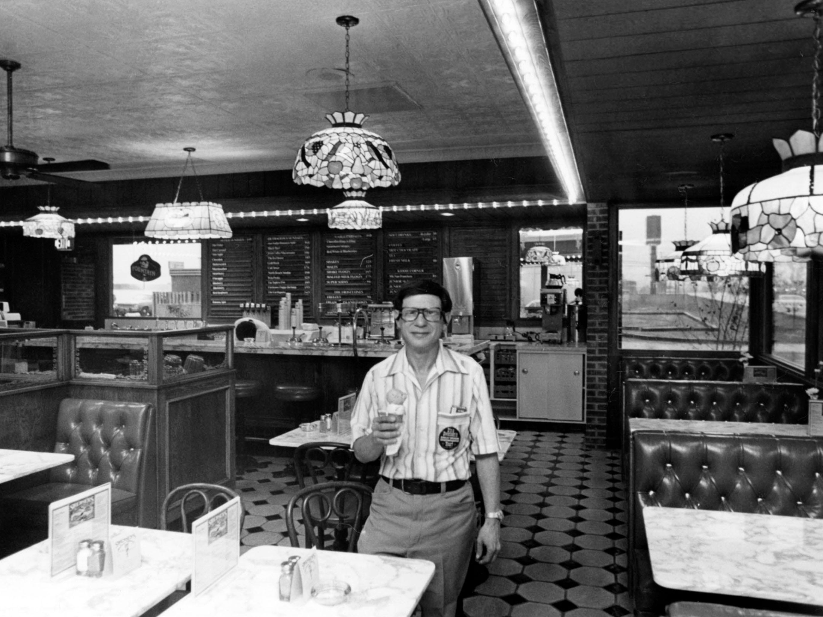 Dick Zivi, owner of Swensen's Ice Cream Factory on Downtown West Blvd. in 1977