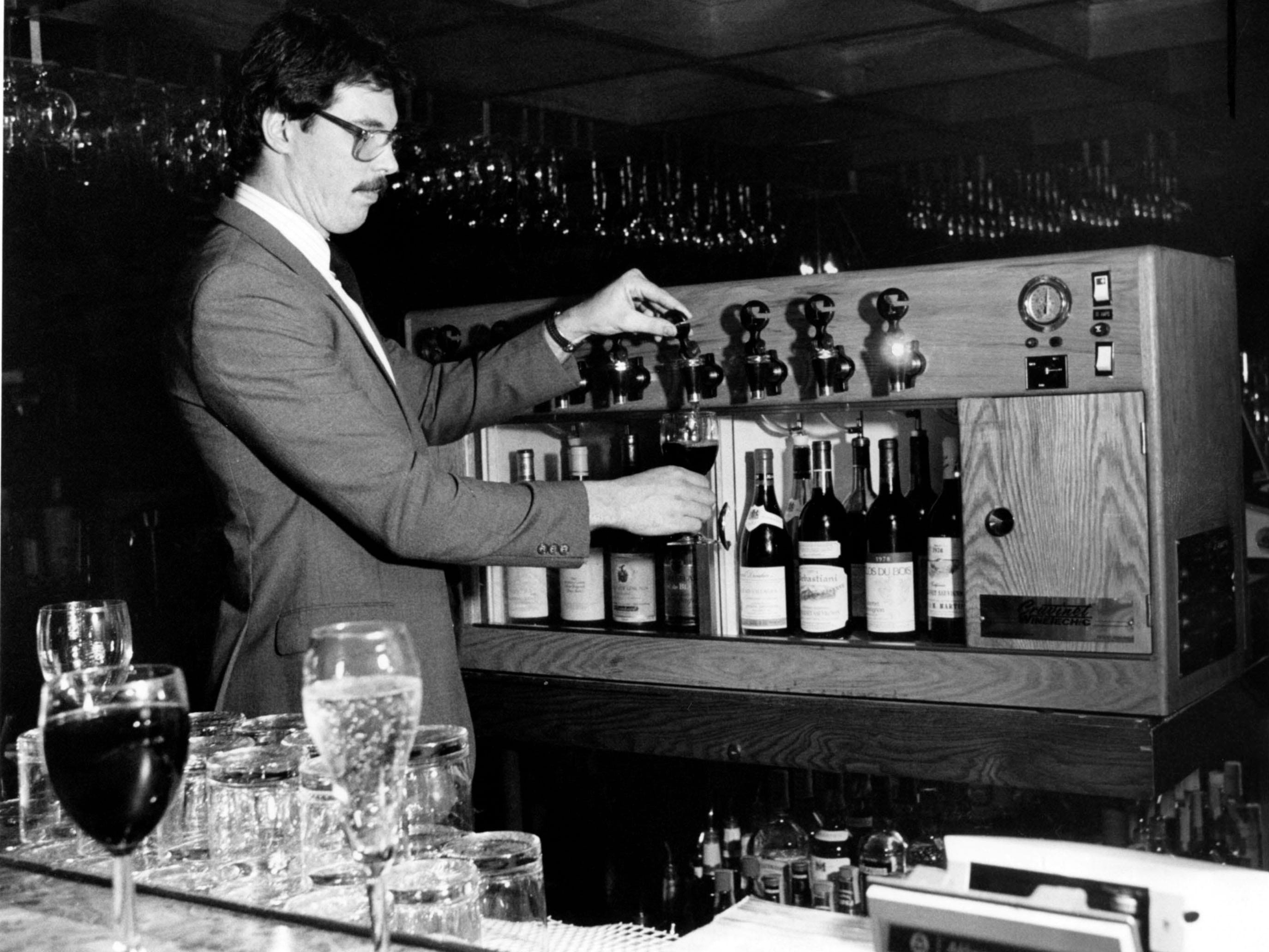 Dennis Cleary at the Regas Restaurant bar in 1984.