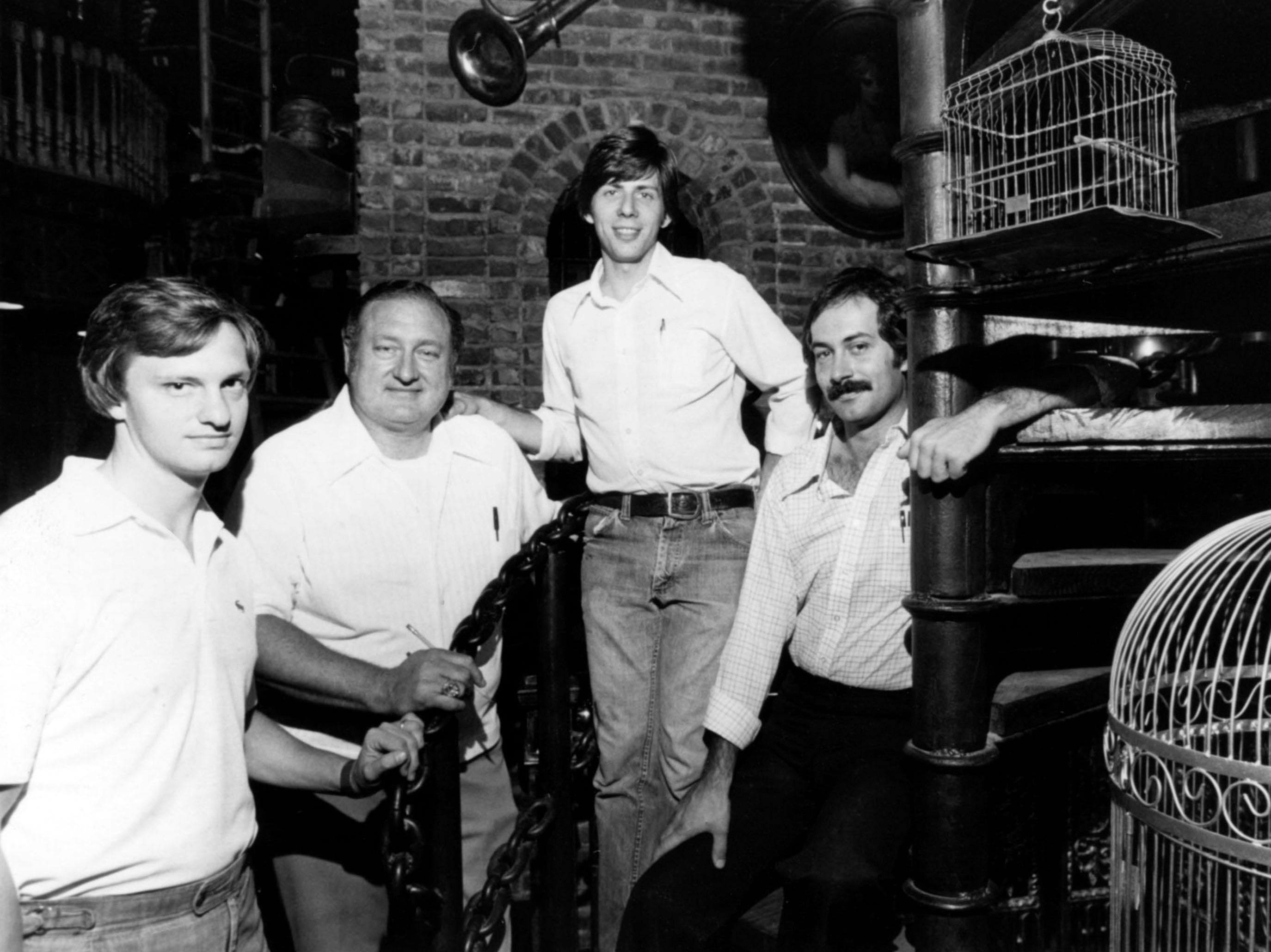 Darryl's 1879 staff in September 1979, from left; John Vick, director of operations; Thad Eure Jr., owner; Pick Chase, assistant manager; and Clyde Ward, manager.