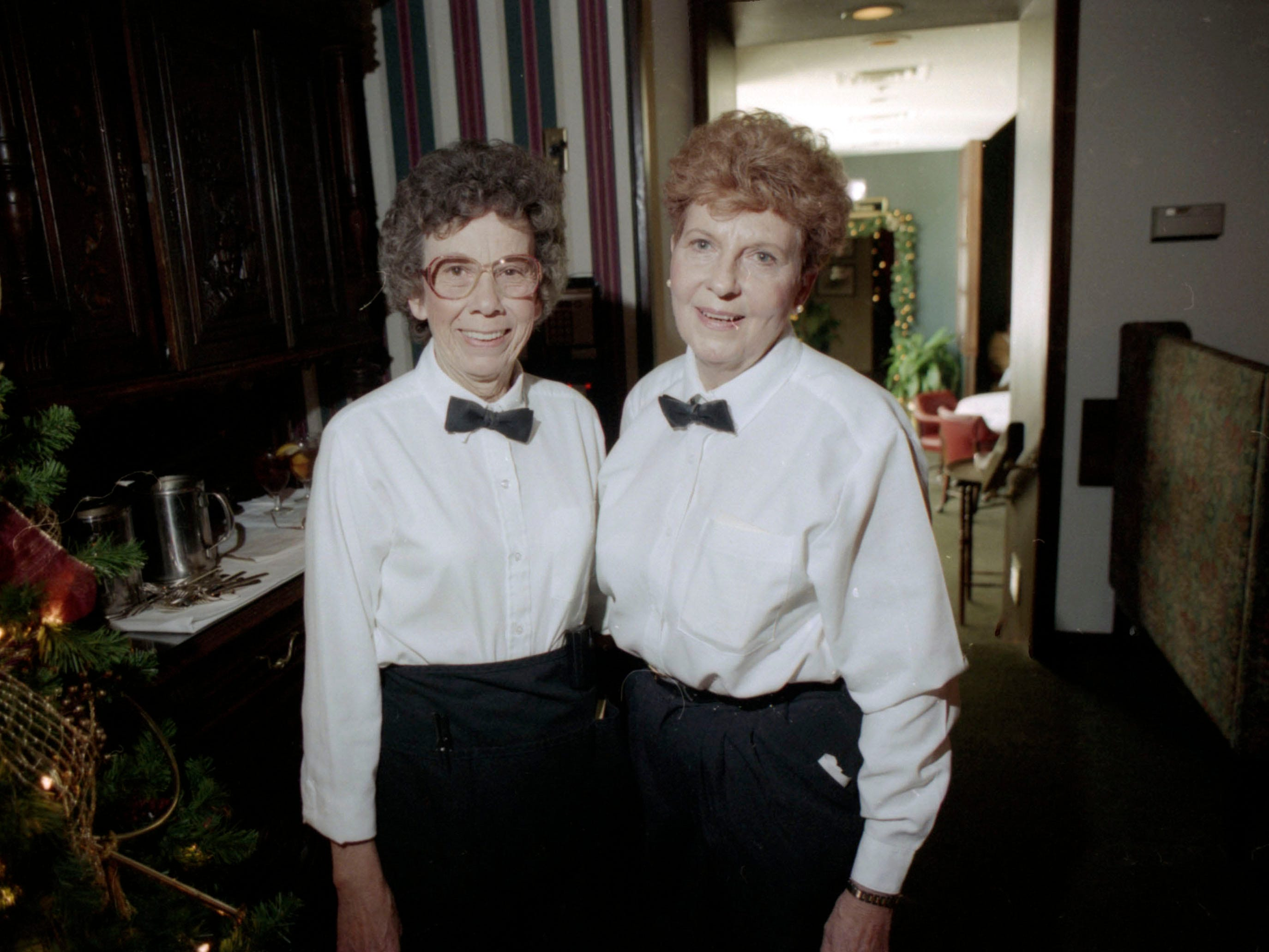 The retirement of longtime Regas Restaurant waitresses Jean Rymer, left, and Trula Lawson in December 1995.