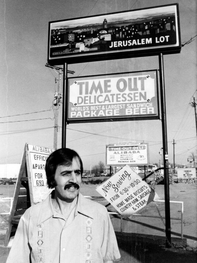 Nabih Aqqad, owner of Ali Baba's Time Out Deli in 1981.