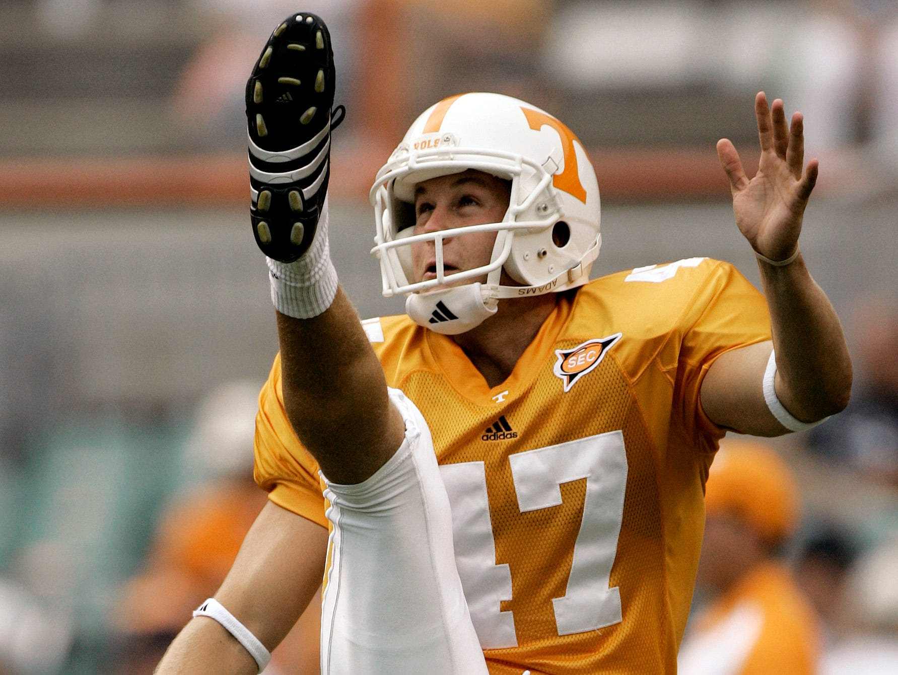 Tennessee punter Britton Colquitt warms up prior to a college football game against Air Force on Sept. 9, 2006 in Knoxville, Tenn. Colquitt, who comes from a family of punters, had a career night against Marshall on Sept. 23, 2006, with a personal best 56-yard average on three punts.