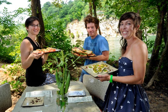 Jessica Hammonds, right, poses with Ryan Caden, center, and Jody Marchant in 2012 when all three were owners of Organicism Farms. Hammonds is now opening a food truck with the same name of her catering business, Sister South Fine Foods.