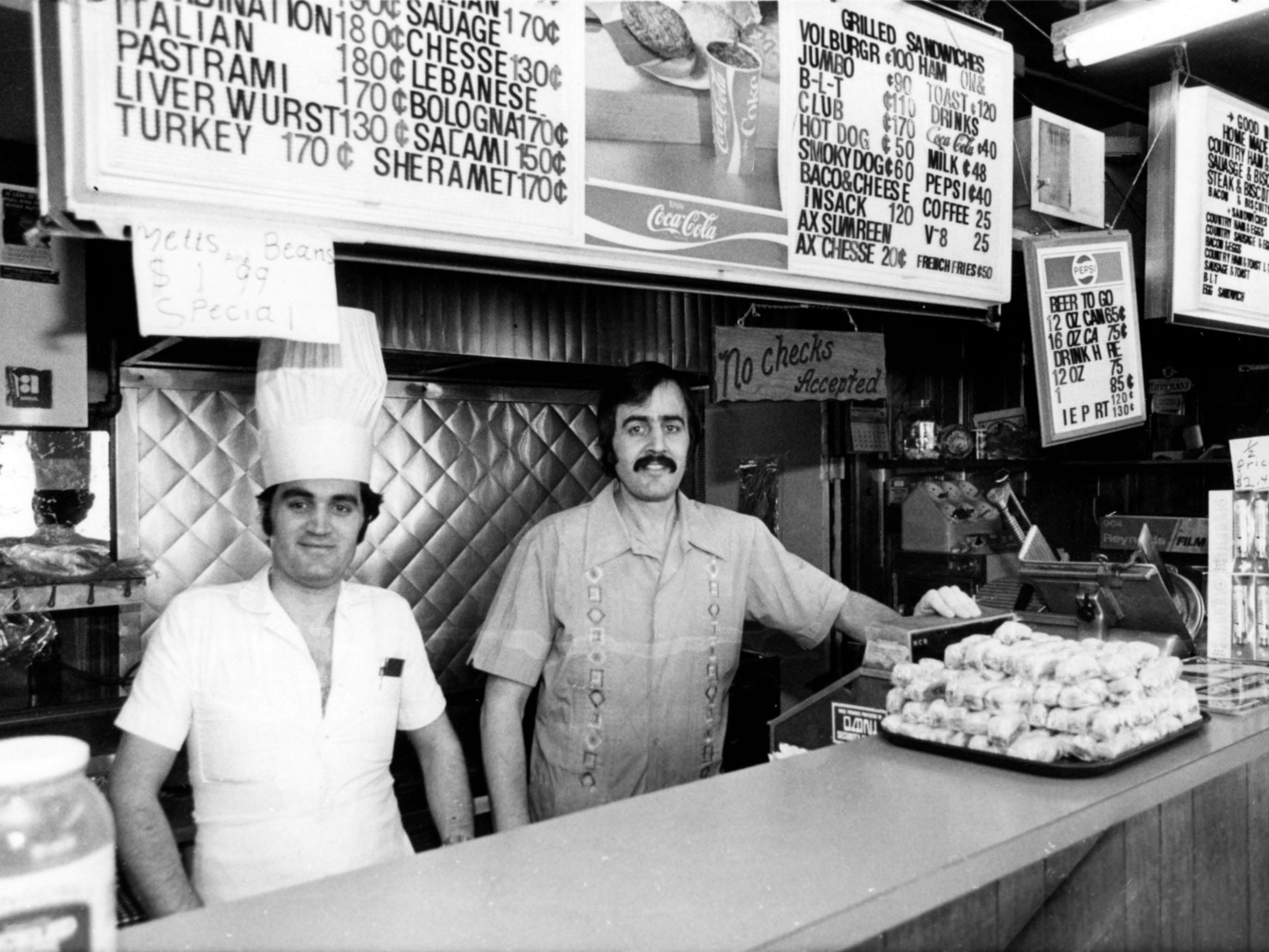 Brothers Nazeeh Aqqad, left, and Nabih Aqqad, owners of Ali Baba's Time Out Deli in 1981.