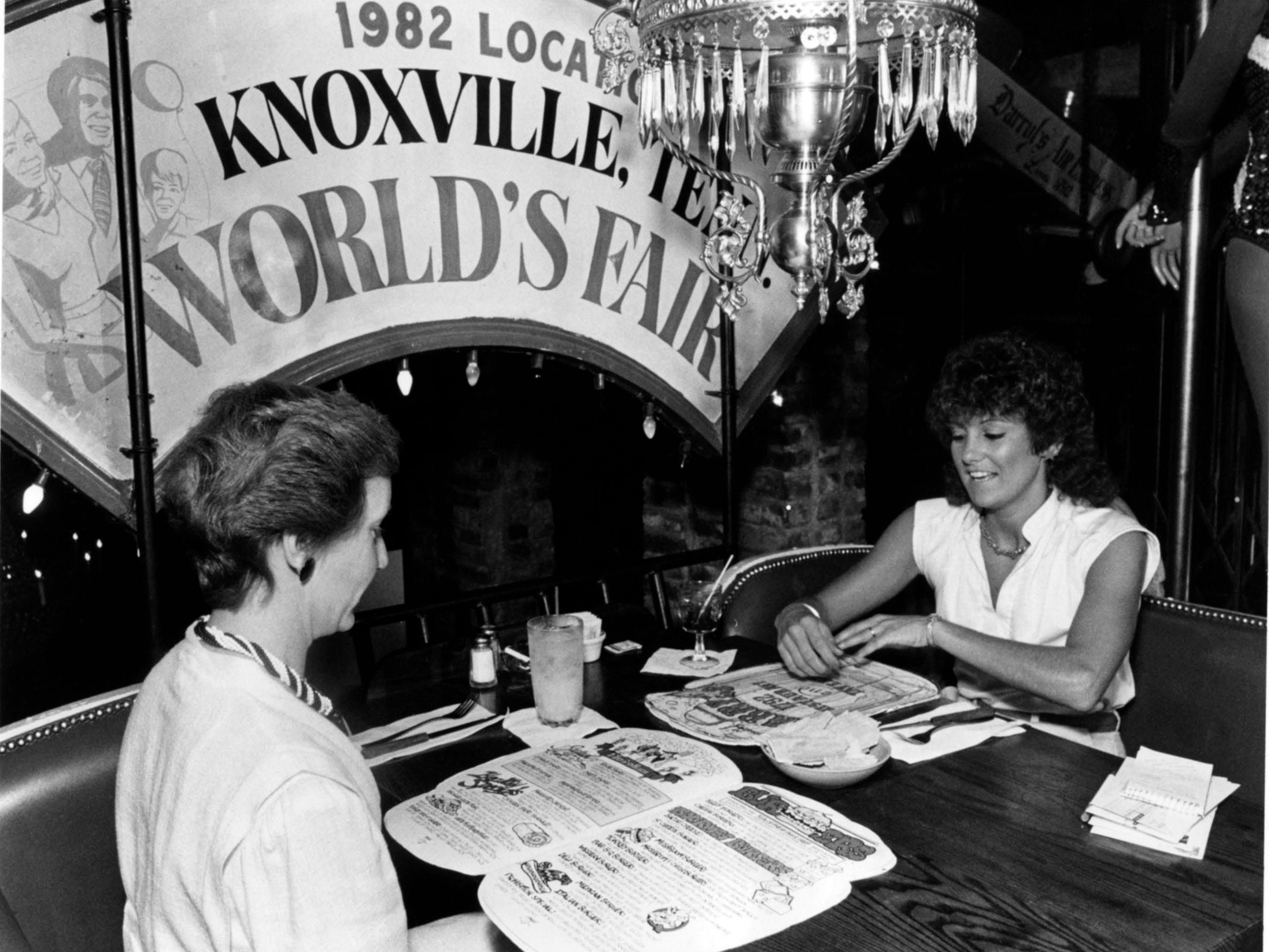 Mary Westlake, left, and Connie Easter at Darryl's on Merchant's Dr. in 1984.