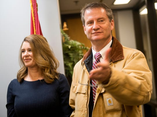 Former Knox County Mayor and current Congressman-elect Tim Burchett, right, thanks people after his portrait was unveiled at the Knox County Mayor's Office on Friday, December 28, 2018.