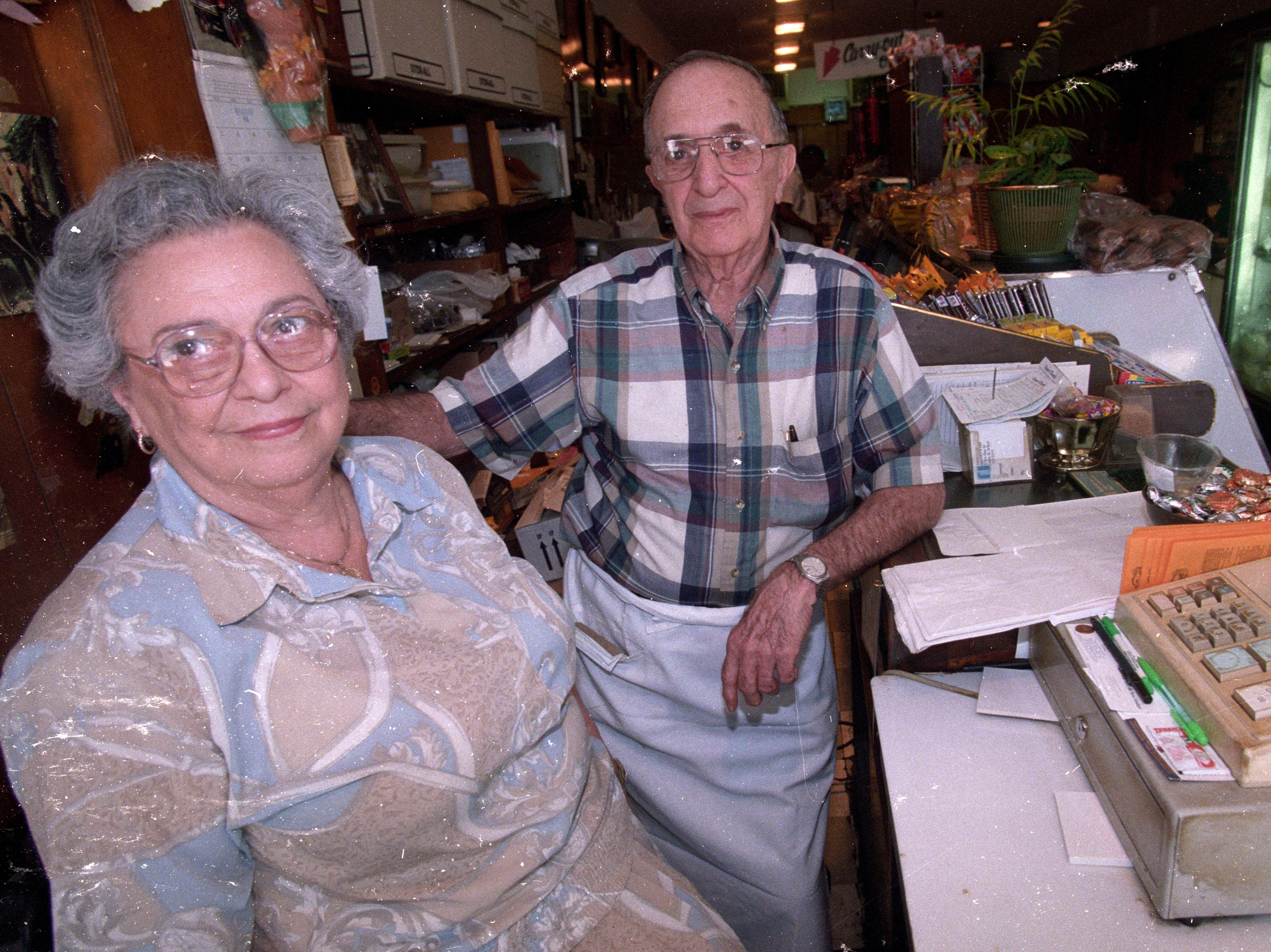 Addie and Harold Shersky, owners of Harold's Deli on Gay Street, photographed Aug. 24, 1998. Harold, age 89, died July 19, 2008.  Addie died two years earlier.