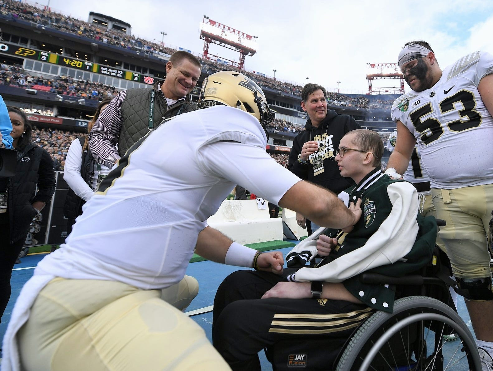 Purdue football players, including No. 53 Kirk Barron, great Tyler Trent at the Music City Bowl where Purdue football faced Auburn on Dec. 28, 2018, at Nissan Stadium in Nashville, Tennessee.