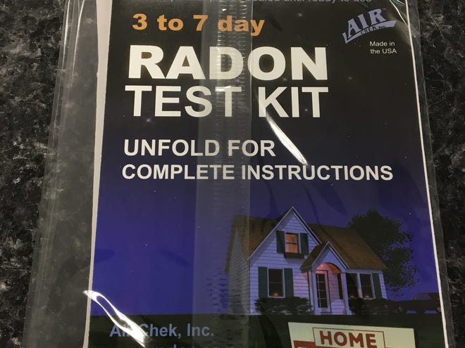 A radon testing kit from the Livingston County Health Department as seen on Friday Dec. 28, 2018. County health offficials are urging residents to test their homes during winter.