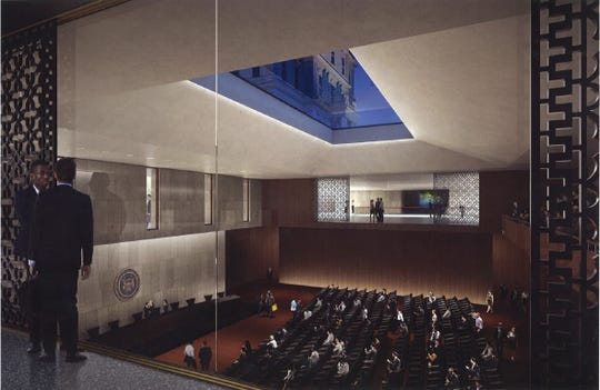 A digital rendering of the interior of Heritage Hall. Heritage Hall is an auditorium and conference center proposed for the Capitol grounds.