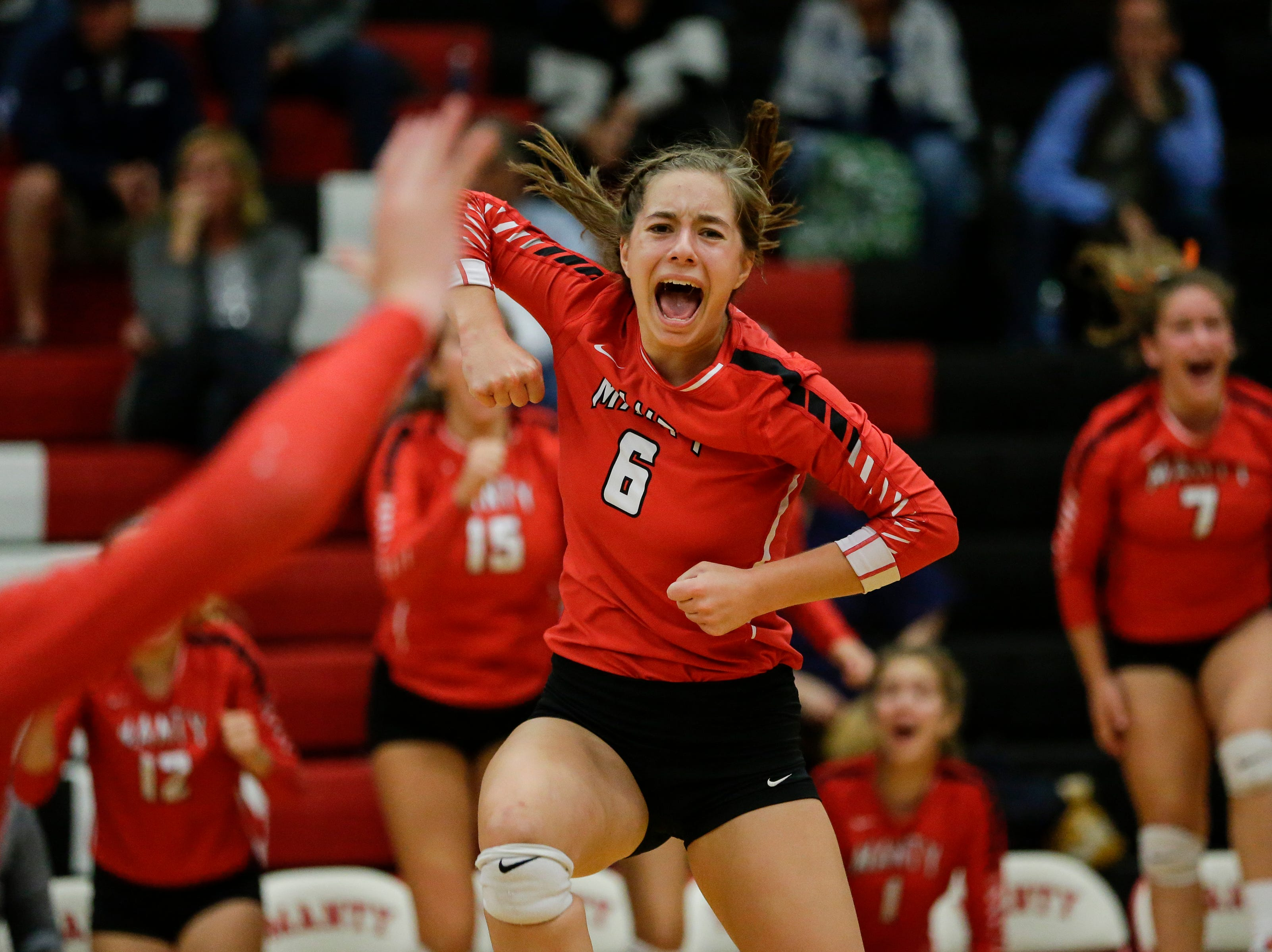 Lincoln's Paige Franz (6) reacts after a point against Sheboygan North after the Ships came back to force a fifth set in a Fox River Classic Conference game at Manitowoc Lincoln High School Tuesday, October 2, 2018, in Manitowoc, Wis. The Ships came back to defeat the Raiders 3-2 after losing the first two sets. Joshua Clark/USA TODAY NETWORK-Wisconsin