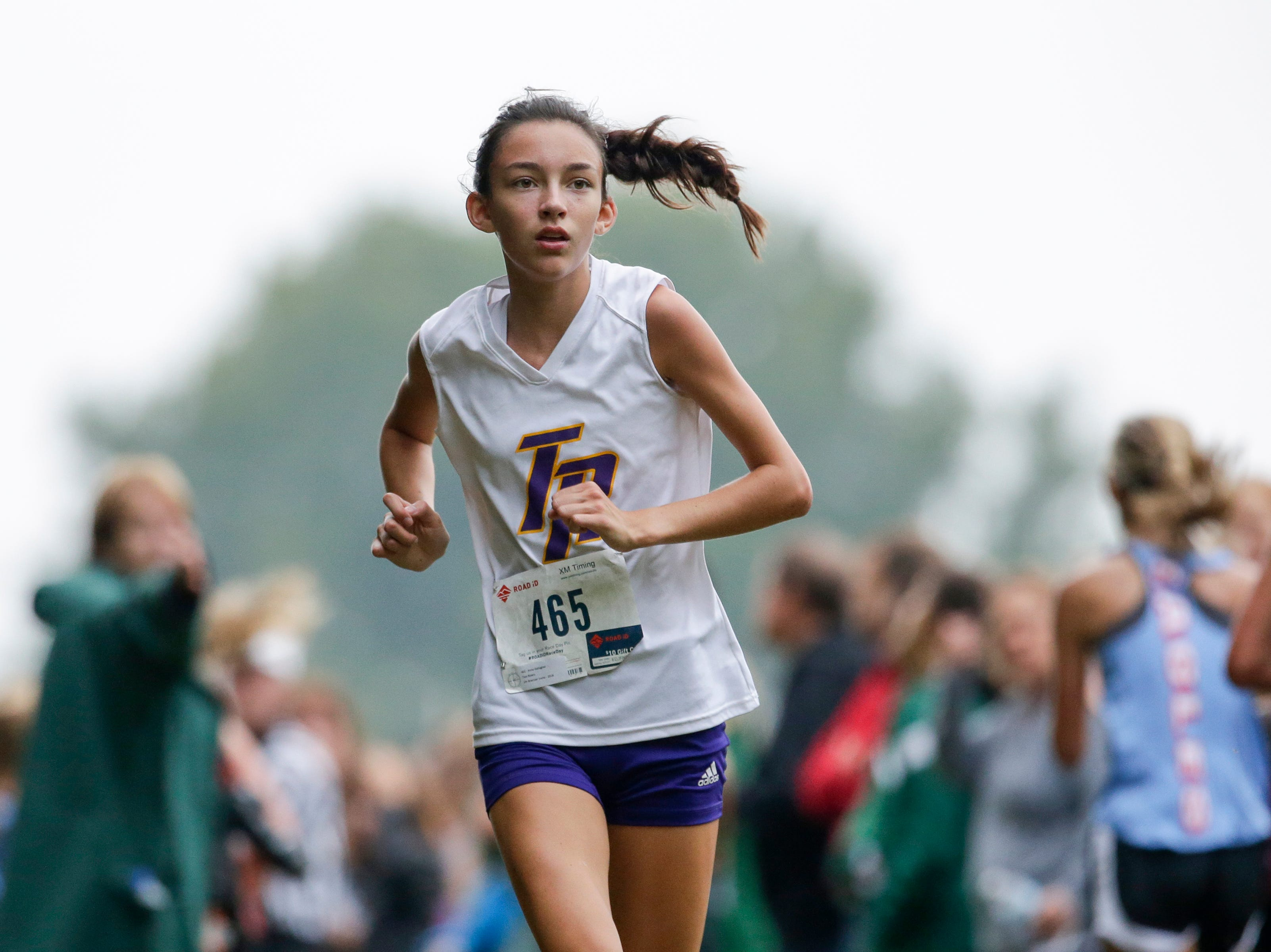 Two Rivers' Anna Gallagher competes in the Jim Bremser cross country invitational at Mishicot High School Thursday, September 20, 2018, in Mishicot, Wis. Gallagher, a freshmen, went on to place in the top 5 at the WIAA Cross Country State Championships. Josh Clark/USA TODAY NETWORK-Wisconsin