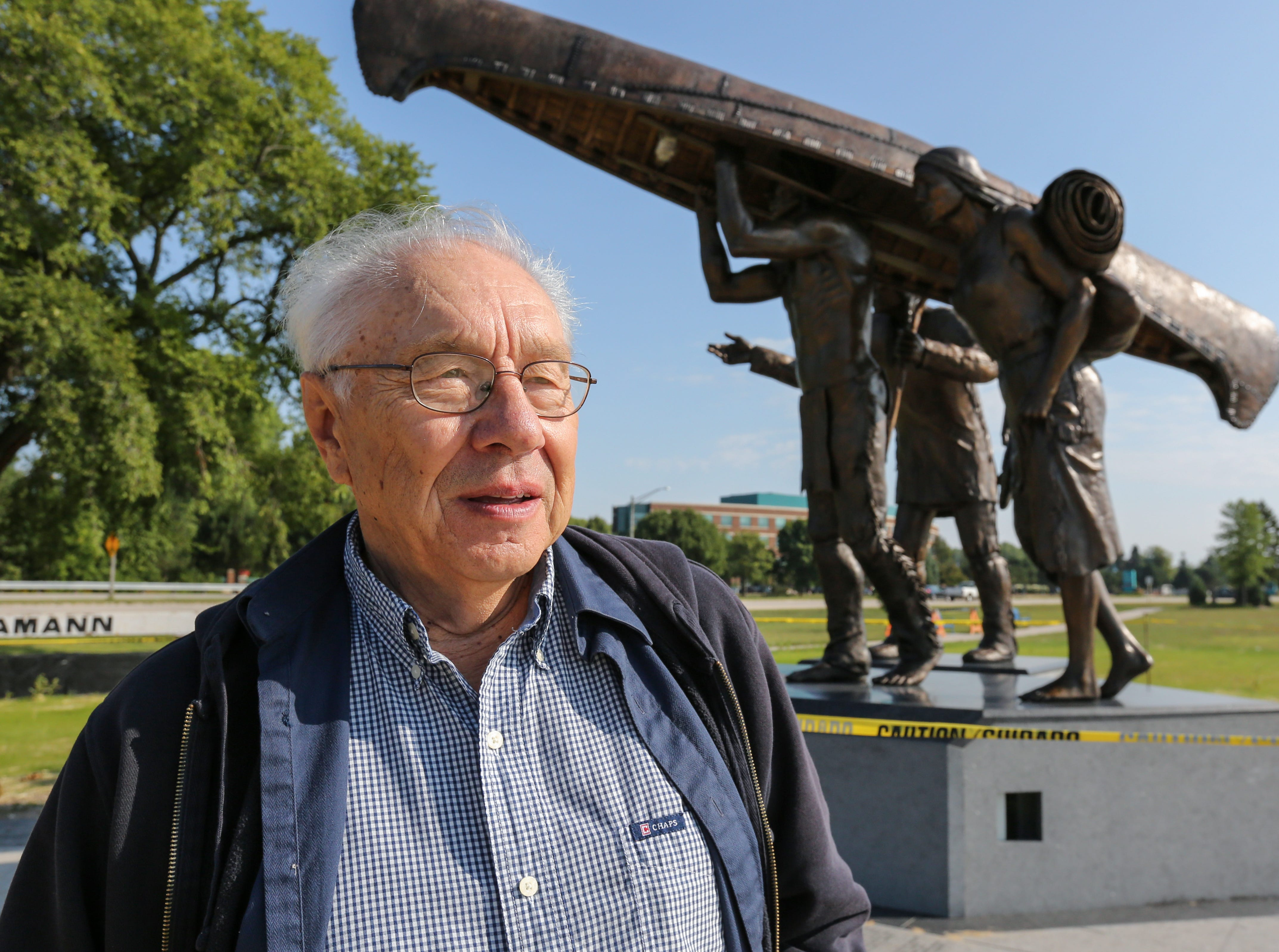 """R.T. """"Skip"""" Wallen stands near the newly installed """"Spirit of the Rivers"""" monument Friday, August 31, 2018, in Two Rivers, Wis. Josh Clark/USA TODAY NETWORK-Wisconsin"""