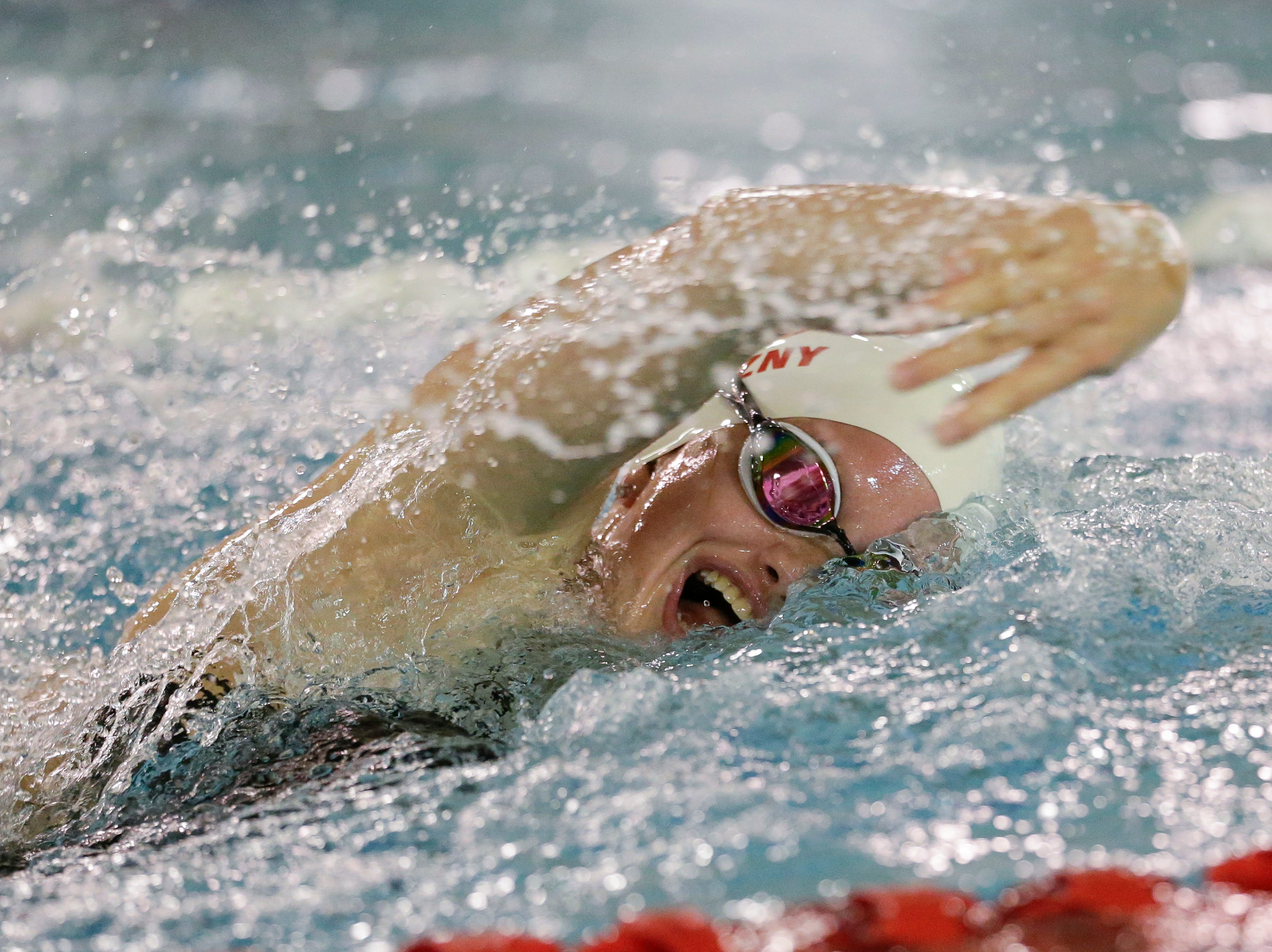 Lincoln's Mia Strazny competes in the 400 yard freestyle relay during a conference swim meet against Sheboygan North at Lincoln High School Tuesday, September 18, 2018, in Manitowoc, Wis. Josh Clark/USA TODAY NETWORK-Wisconsin
