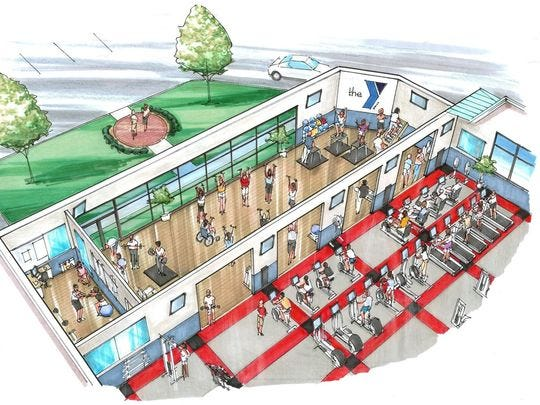 A rendering of the under construction expansion of the YMCA wellness center.