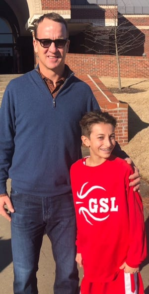After helping to beat MUS in a seventh-grade basketball game, Grace-St. Luke's 12-year-old Parker Paschal got to meet former NFL great Peyton Manning.