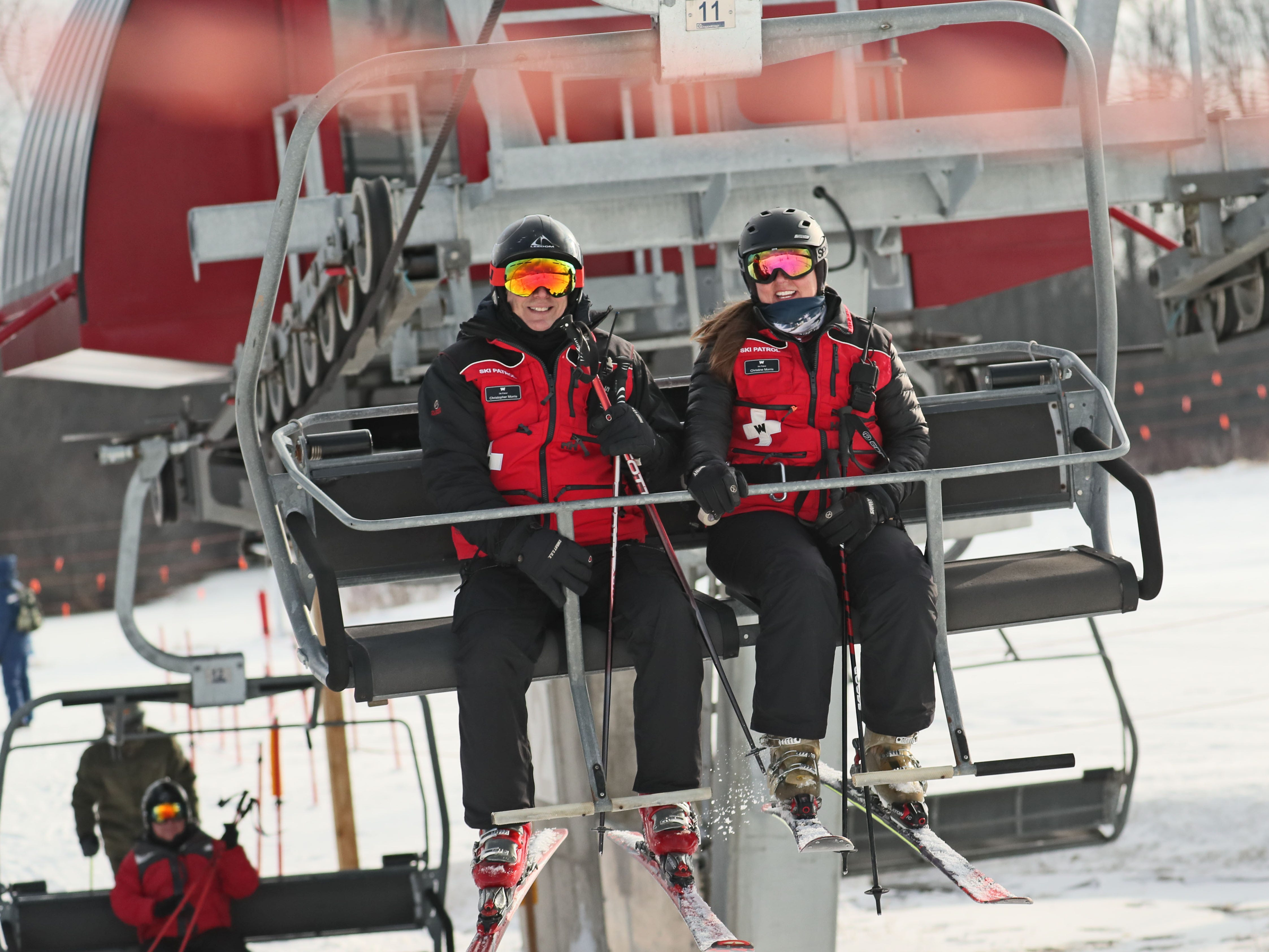 Christopher and Christine Morris met at Wilmot Mountain ski hill near Wilmot and are on the ski patrol together there.