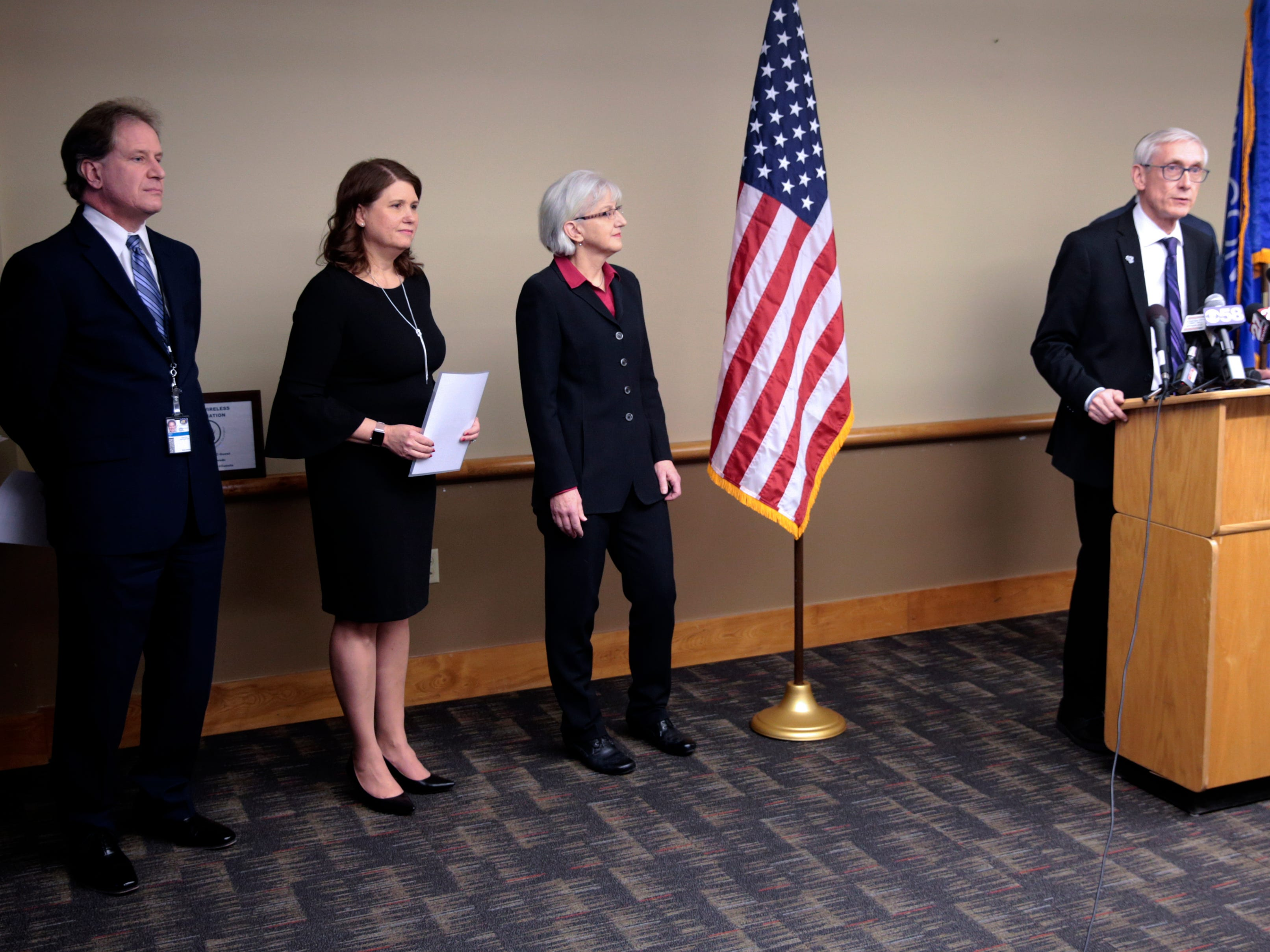 Gov.-elect Tony Evers announced his picks Friday for veterans secretary, financial institutions secretary and budget director. Pictured are Brian Pahnke, his pick for budget director; Kathy Koltin Blumenfeld, his pick for financial institutions secretary; Mary Kolar, his pick for veterans secretary; and Evers.