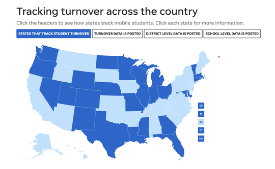Tracking student turnover interactive map.
