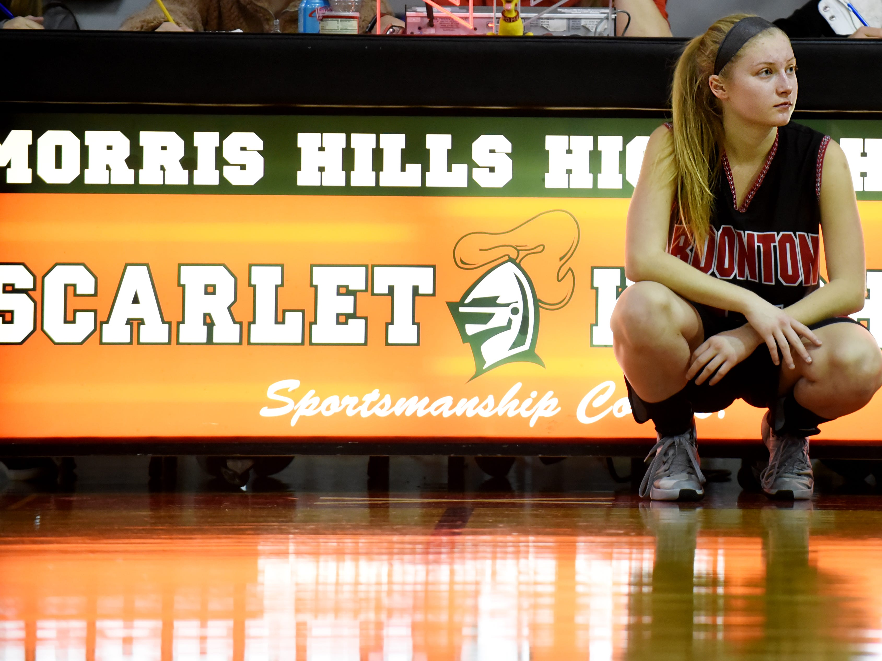Boonton senior guard Kristen Gallo waits to sub into the final of the Morris Hills Holiday Tournament in Rockaway on Friday December 28, 2018.