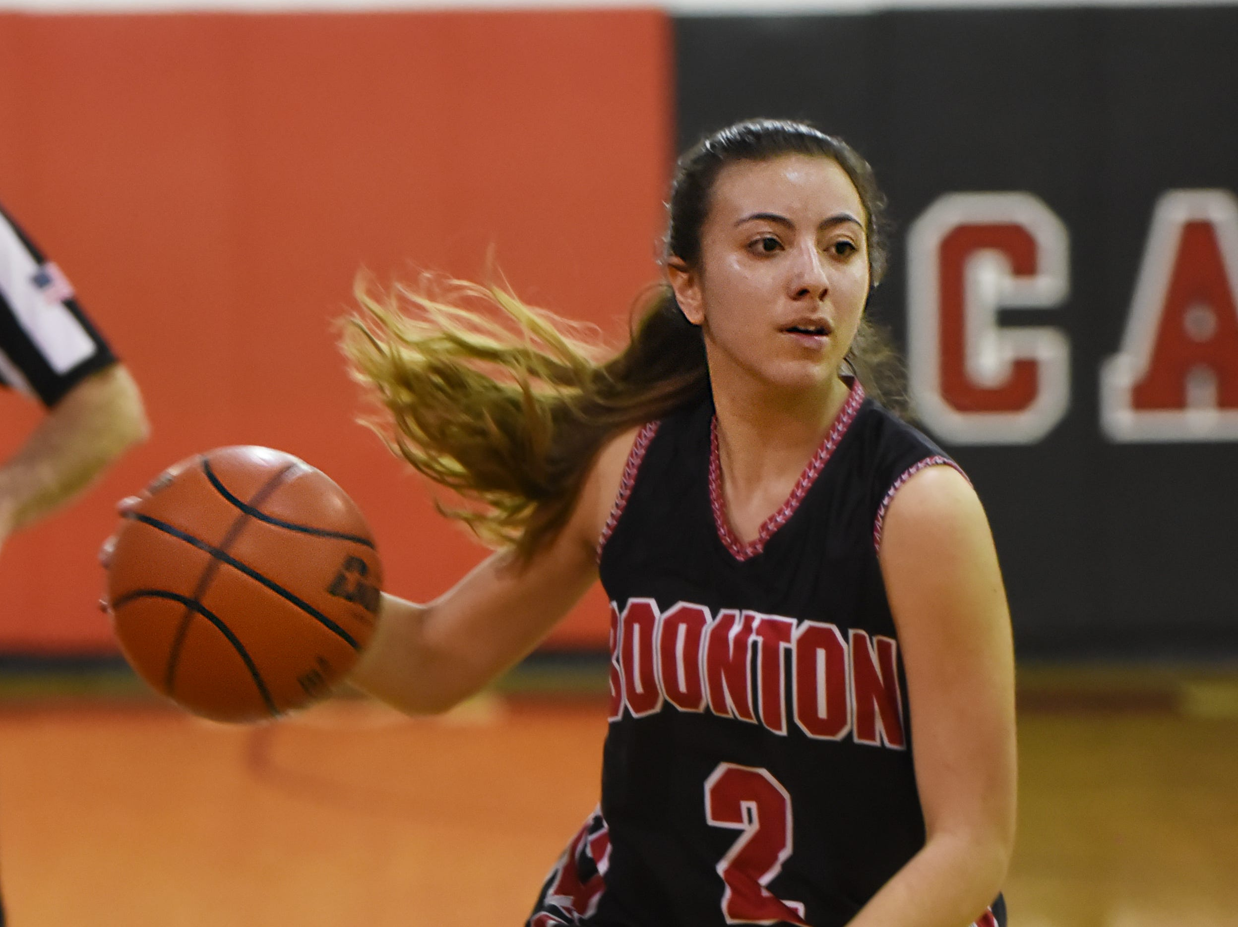 Boonton Vs. Morris Hills girls basketball game at the Morris Hills Holiday Tournament in Rockaway on Friday December 28, 2018. B#2 Sara Rios with the ball.